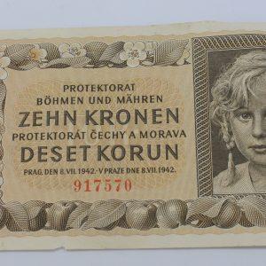 10 coronas 1942 bohemia y moravia