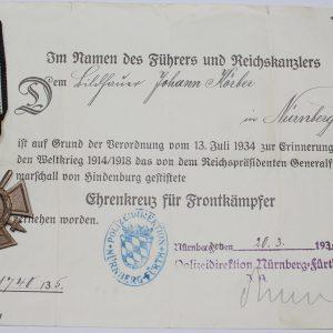 cruz de honor con espadas con documento