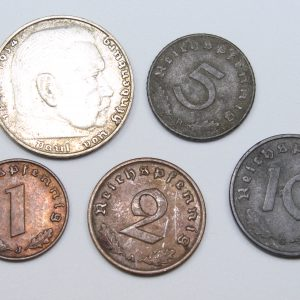 Lote 5 monedas de Tercer Reich