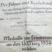concesión medalla anexión Austria