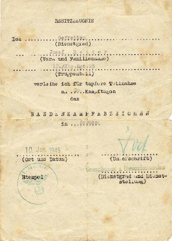 certificado bandenkampfabzeichen