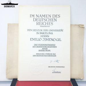Concesión Orden del Águila Alemana